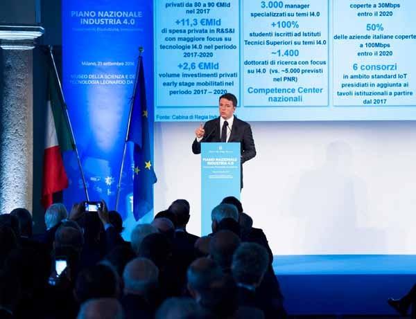 L'intervento del presidente del Consiglio Matteo Renzi alla presentazione del Piano nazionale Industria 4.0.