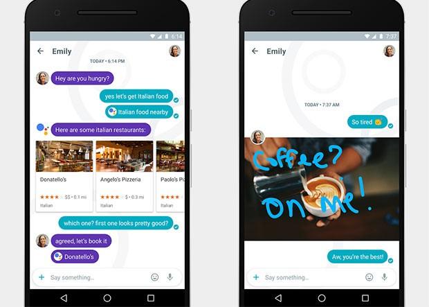 Screenshot per l'applicazione Allo di Google, dedicata alla messaggistica