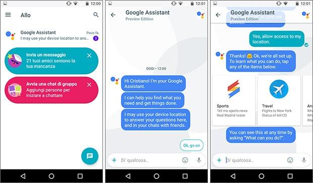 Google Allo: l'interfaccia dell'applicazione