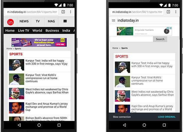 Lo stesso sito Web caricato in Chrome su Android senza (a sinistra) e con (a destra) la modalità Risparmio Dati attiva