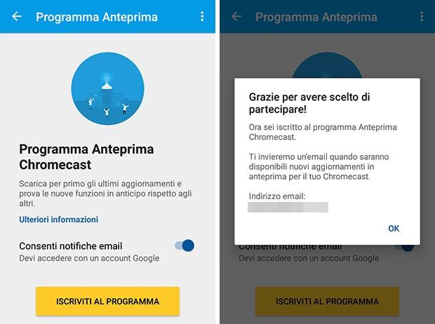 Il Programma Anteprima di Chromecast che permette di testare i nuovi firmware in anticipo
