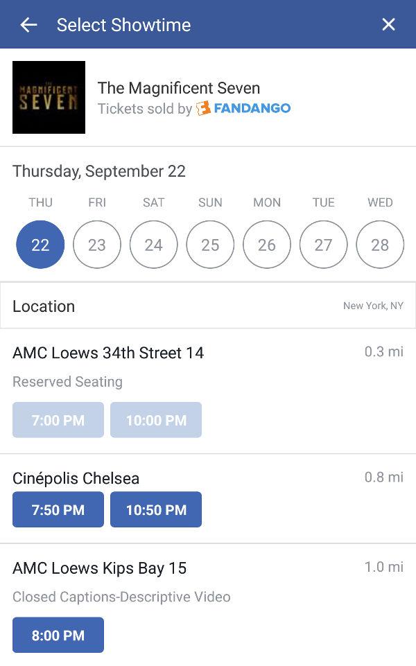 I biglietti del cinema si compreranno su Facebook