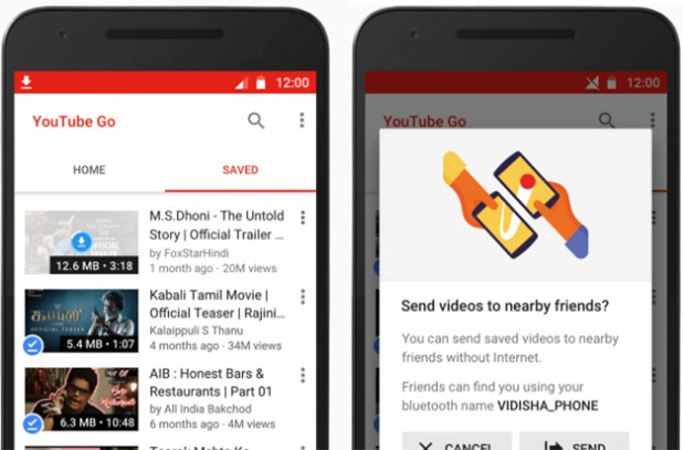 Screenshot per l'applicazione YouTube Go di Google