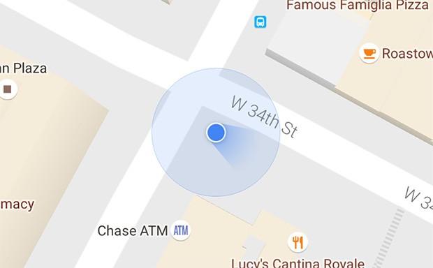 L'icona di Google Maps che mostra la direzione verso la quale è rivolto l'utente