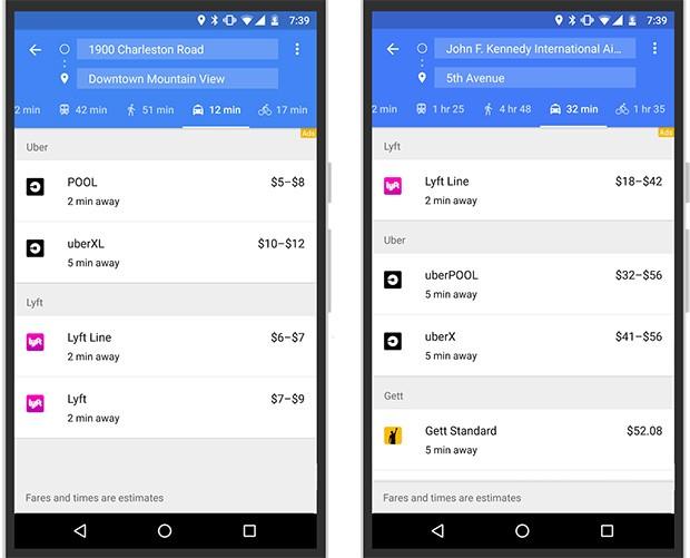 Google ha introdotto Lyft e Gett tra i servizi di ride sharing supportati da Maps