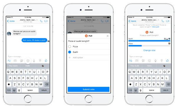 Facebook Messenger, arrivano i sondaggi