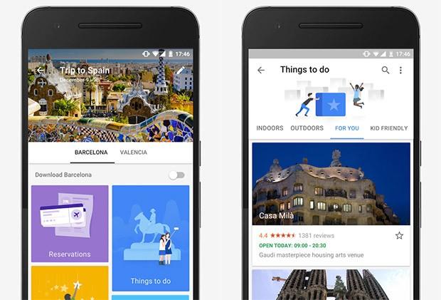 Screenshot per la versione Android dell'applicazione Google Trips