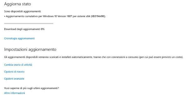 Microsoft rilascia la build 14393.22 di Windows 10