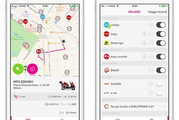 Screenshot per l'applicazione mobile del servizio urbi
