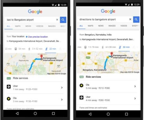 Google mostra le opzioni di ride sharing disponibili per raggiungere la propria destinazione direttamente tra i risultati di una ricerca mobile