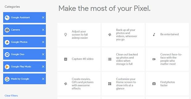 Alcuni degli argomenti proposti da Google per la guida agli smartphone Pixel