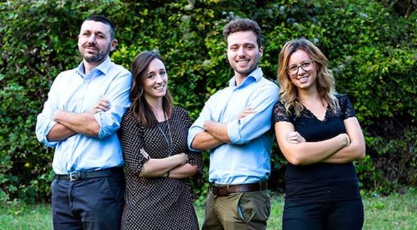 Lo staff di Progetto Masere: da sinistra Andrea Massa, Stefania Sedini, Matteo Meroni e Nicole Ventura.