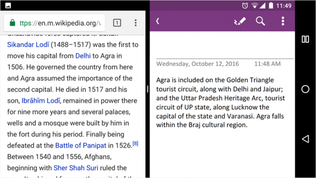 OneNote split screen Android