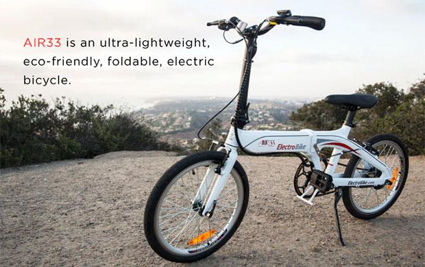 La bici elettrica Electrobike AIR33, proposta con una campagna di crowdfunding su Kickstarter