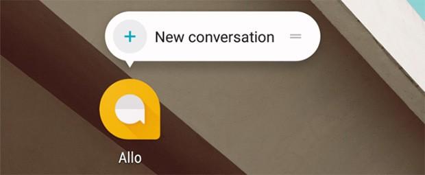 L'avvio di una nuova conversazione con Allo direttamente dalla homescreen