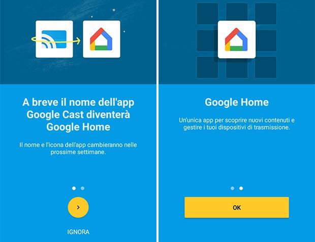 Un avviso: l'applicazione Google Cast diventerà presto Google Home