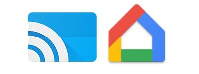 """A sinistra l'icona della """"vecchia"""" applicazione Google Cast, a destra quella della nuova Google Home"""