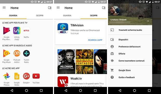 Screenshot per l'applicazione Google Home (ex Google Cast) su smartphone Android