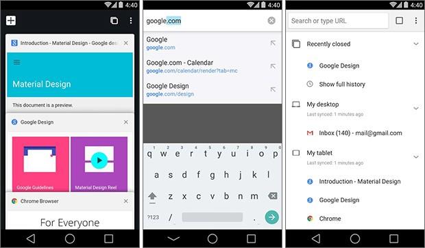 Screenshot per la build Canary del browser Chrome su smartphone Android