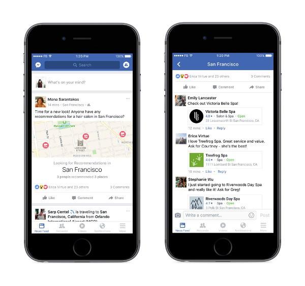 Facebook, arrivano le raccomandazioni