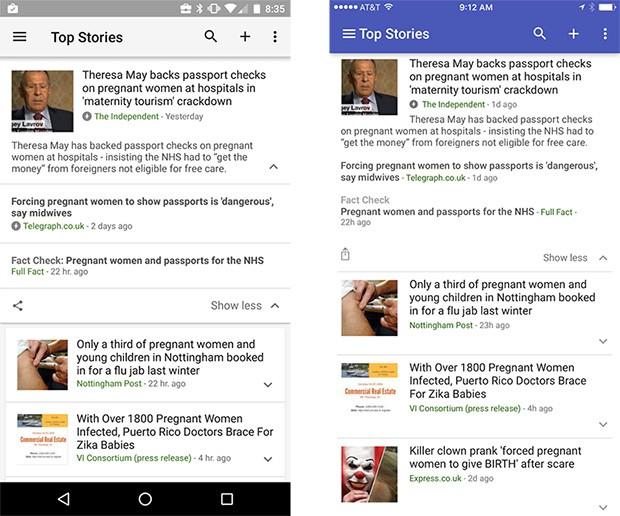 La novità riguarda anche l'applicazione mobile Google Notizie e Meteo su Android e iOS