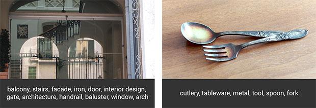 Un esempio di immagini e tag contenuti nel database Open Images Dataset