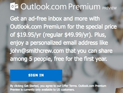 Microsoft Outlook.com Premium arriva in Preview
