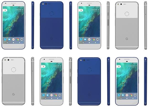 Le colorazioni Very Silver e Really Blue degli smartphone Pixel (in basso) e Pixel XL (in alto) di Google