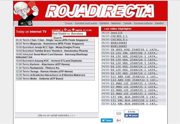 La homepage di Rojadirecta