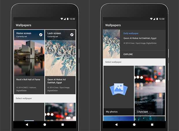 Screenshot per l'applicazione Sfondi di Google su smartphone Android