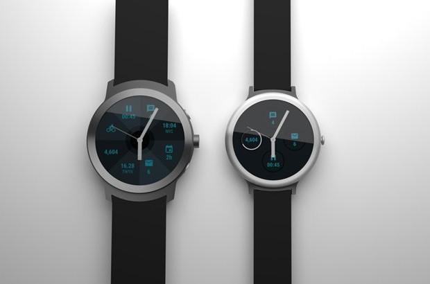 Render per i due presunti smartwatch di Google in arrivo all'inizio del 2017, entrambi equipaggiati con la piattaforma Android Wear 2.0