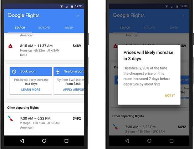 La nuova funzionalità introdotto dall'applicazione Google Ricerca Voli avvisa delle variazioni dei prezzi dei biglietti aerei