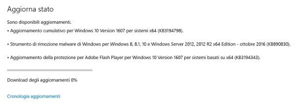 Microsoft, nuova build 14393.221 di Windows 10