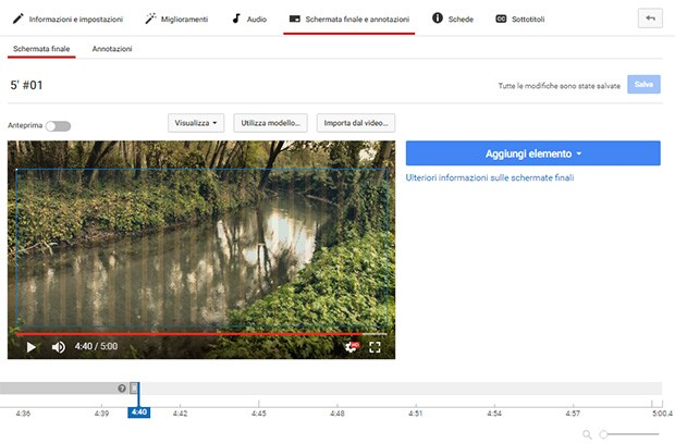 L'interfaccia per aggiungere le Schermate Finali ai video di YouTube