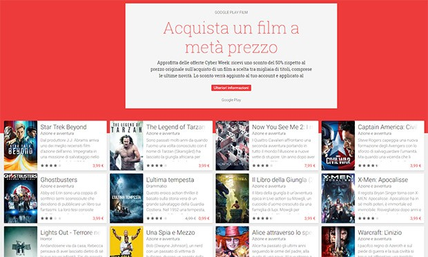 Film in sconto su Google Play
