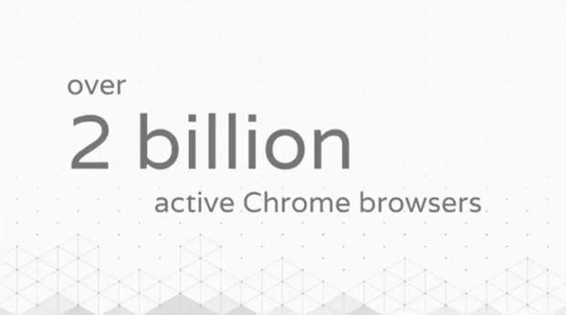 La slide che annuncia il raggiungimento di un traguardo: due miliardi di installazioni attive per il browser Chrome