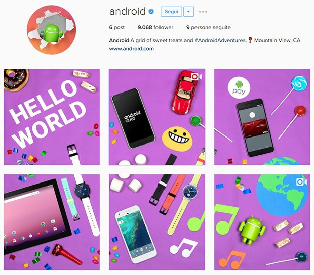 Le prime condivisioni dell'account Instagram di Android