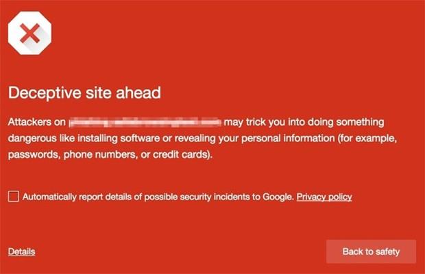 Gli avvisi mostrati dalla Navigazione Sicura di Google