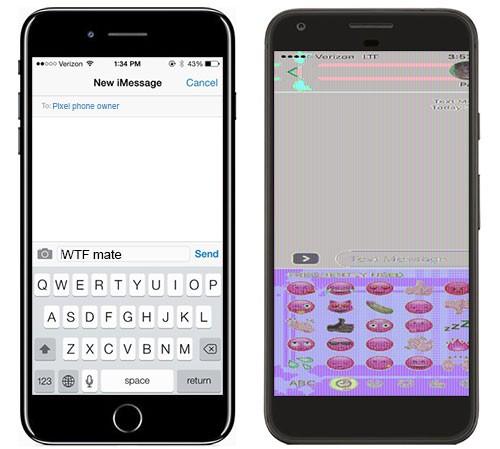 La schermata originale su iPhone 7 Plus (a sinistra) e il relativo screenshot inviato su un dispositivo Google Pixel (a destra)