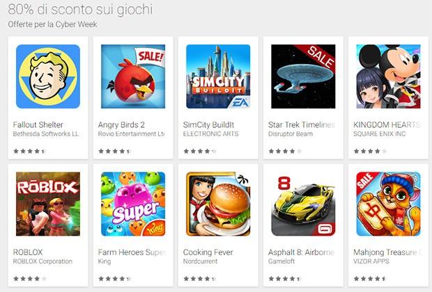 Le offerte sui giochi per la Cyber Week di Google Play