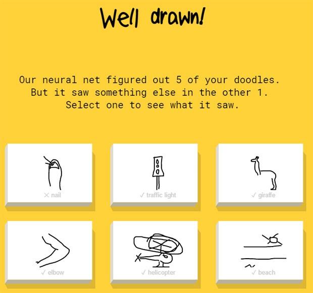 Nel primo test, Quick, Draw! ha indovinato cinque disegni su sei