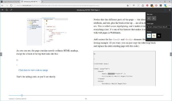 Microsoft Edge, supporto EPUB