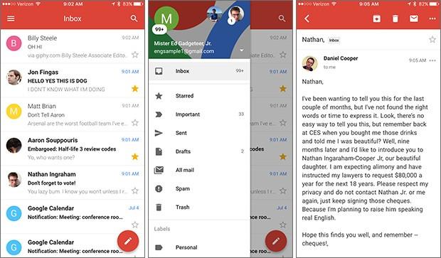 L'applicazione ufficiale di Gmail per iOS, in azione su iPhone, con un'interfaccia completamente ridisegnata e in linea con lo stile del Material Design