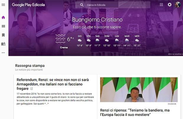 La nuova interfaccia Web della piattaforma Google Play Edicola