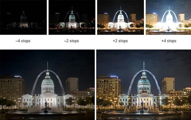 Un esempio: sopra gli scatti effettuati a diverse esposizioni, sotto il risultato ottenuto con due diversi metodi di montaggio HDR