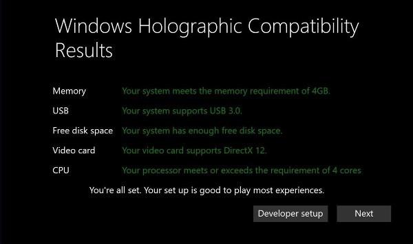 Microsoft, requisiti minimi di Windows Holographic