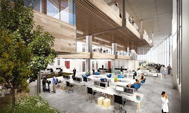 Un render mostra gli ambienti del nuovo spazio Google che sorgerà a Londra