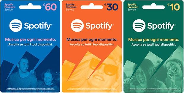 Le gift card di Spotify, per l'accesso alle funzionalità Premium