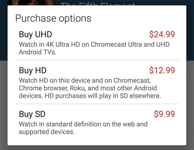 Anche la piattaforma Google Play Film ha avviato la vendita di pellicole in formato Ultra HD