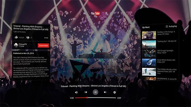 L'interfaccia di YouTube in modalità VR